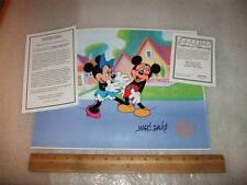 Minnie Kisses Mickey Hand Signed Disney Sericel Cell FREE background MARC DAVIS