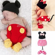 Newborn-12M Baby Girl Boys Knit Crochet Minnie Mickey Costume Photo Prop Outfits
