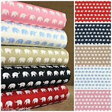 Elephant Fabric 100% Cotton White Blue Red Navy Beige Pale Pink Retro Fabric