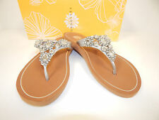 Yellow Box Kira Silver Upper Thong Sandals With Cute Clear Rhinestones
