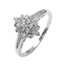 925 Sterling Silver 0.45 Carat Multi-CZ Cluster Ring Size 6-8