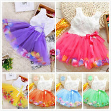 Toddler Newborn Baby Girls Princess Party Tutu Lace Bow Flower Petal Dress 0-36M