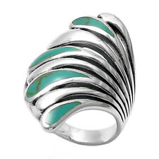 925 Sterling Silver Lovely Multi-Turquoise Swan Ring Size 6-10