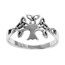 925 Sterling Silver Celtic Tree of Life Women's Ring Size 5-9