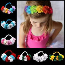 Kids Girl Girls Children sweet Chiffon Lace Pearl Flowers Dance Hair Head band
