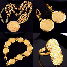 Coin Design yellow gold filled Necklace or ring or Earring or Bracelet Jewelry