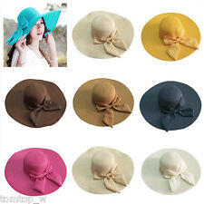 Boho Women Floppy Straw Hat Sun Beach Summer Cap Wide Brim Bowknot Foldable