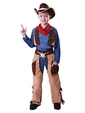 Boys Kids Cowboy Outfit Fancy Dress Costume Children Party Rodeo Wild Western
