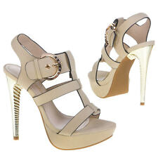 Ladies Designer High Heel Sandals Shoes Size 2 3 4 5 6 7 Party Prom 11302 Beige