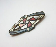 VINTAGE ART DECO STYLE GOLD TONE ORANGE WHITE BLUE ENAMEL PIN BROOCH **
