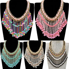Fashion Gold Chain Resin Beads Tassels Choker Statement Pendant Bib Necklace New