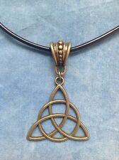 Celtic Knot / Triquetra Bronze Colour Pendant on Cord - Pagan, Charmed, New