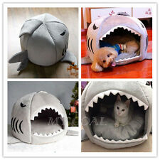 Pet Dog Cat Puppy Kitty Shark Igloo Cave Bed Nesting Rest Knit Cotton Grey Cozy