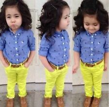Outfits & Sets !  2PCS Baby Girls Floral Shirt+pants Set Kids Summer Outfits