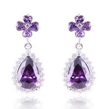 Jewelry New Purple/Black/Ruby/White Drop Earrings 10Kt White Gold Filled Wedding