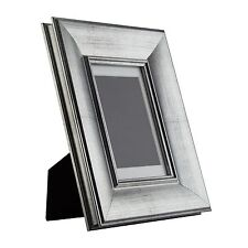 Verandah Table-Top 4x6 Vintage Brushed Silver Standing Picture Frame with Mat