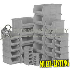 HEAVY DUTY GREY RECYCLED PLASTIC PICKING PARTS STORAGE STACKING BINS BOXES NEW