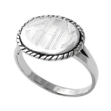 925 Sterling Silver Engravable Wide Oval Rope Edged Ring Size 5-9