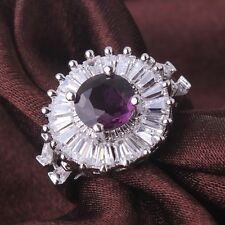 Nobby design 18K white gold filled cute purple sapphire crystal rings Sz6to10