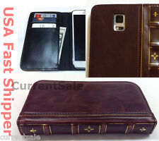 Vintage Antique BOOK Leather Cover Wallet Case Samsung Galaxy S4 S5 Note 2 3 4