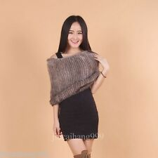 100% Real Genuine Knitted Farm Mink Fur Cape Stole Coat Scarf Shawl Wrap Vintage