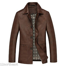 Spring NEW Men's leather jacket solid lapel coats