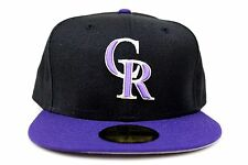 Colorado Rockies Black / Purple New Era Fitted Baseball Cap Made in the USA