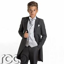 Boys Grey Tail Suit, Silver Waistcoat, Page Boy Suits, Wedding Suits, Boys Suits