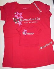 LOS ANGELES New Authentic American Girl & Matching Doll Red T shirts Stars M