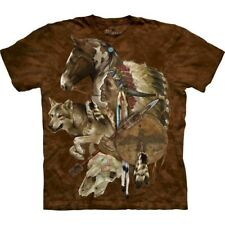 The Mountain Brand Native American Indian Wolf Spirit T-Shirt S-5X