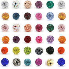 20Pcs Round Czech Crystal Rhinestones Pave Clay Disco Ball Spacer Bead 6-12mm