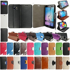 Book Flip Leather Case Cover For Apple Samsung LG Mobile Phones With Free Stylus