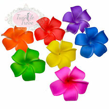 Small Plumeria Frangipani Flower Hair Clips. Bright Colours Hawaiian Festival