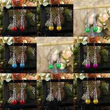 1 Pair Woman Fashion Jewelry Silver Plated Resin Dangle Hook Earrings 6 Colors