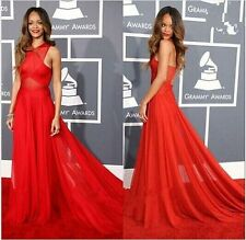 Fashion New Red Sexy Strapless Backless Formal Long Maxi Evening Dress
