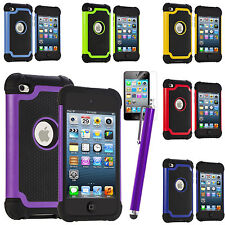DELUXE 3PIECE HARD SKIN COVER CASE FOR IPOD TOUCH 4 4G 4TH GEN+PROTECTOR+STYLUS