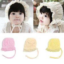 Newborn Baby Girls Toddler Summer Lace Flower Sun Hat Cotton Bonnet Cap 0-8Month