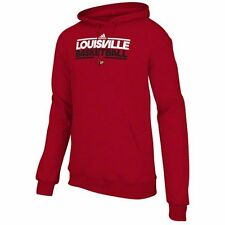 adidas Louisville Cardinals Basketball On-Court Hooded Sweatshirt - Red