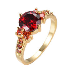 Size 6-10 Red Round Ruby Wedding Ring 10KT Yellow Gold Filled Women's Engagement