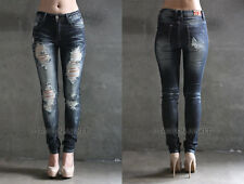 D BLUE 73 DISTRESSED JEANS Ripped Skinny Denim Stretch Destroyed PLUS SIZE 13-21