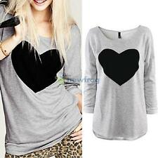 Fashion Women Lady Heart Love Round Neck Long Sleeve Tops Casual T-shirt Blouse