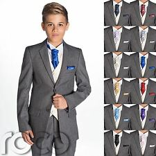 Boys Grey Suit, Boys Cravat & Pocket Square, Page Boy Suits, Boys Wedding Suit