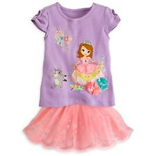 DISNEY STORE SOFIA THE FIRST COMFY COTTON TOP & SPARKLING TULLE TUTU SKORT NWT