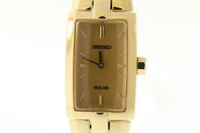 Ladies Seiko SUP220 Gold-Tone Stainless Steel Gold Dial Solar Watch