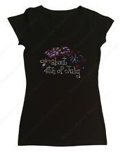 "Women's Rhinestone T-Shirt "" Wild About 4th of July "" in Size Sm to 3X"