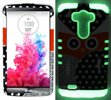 For LG Optimus G3 - Hybrid Soft inner Case Cover Owl Polka w/ Glow in the Dark