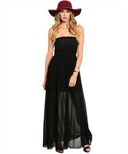 NEW BLACK STRAPLESS LACE LONG MAXI DRESS pick S M L NEW YEARS EVE