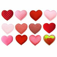 "*U PICK* 60 pcs. Heart 2"" Padded Applique fabric hair accessory girl craft sew"
