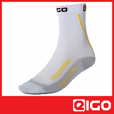 COMPRESSION CYCLE SOCKS WHITE - MTB DOWNHILL MOUNTAIN BIKE RACE CYCLE 1 PAIR
