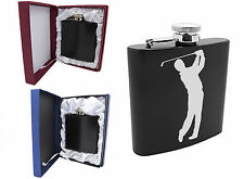 Personalised Engraved Golf Golfer 6oz Black Stainless Steel Hip Flask Gift